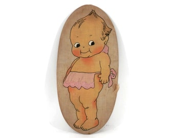 Antique Embroidered Kewpie Doll Wall Hanging