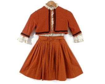 1950s Girl's School Dress Pumpkin Orange with Matching Jacket and Crinoline