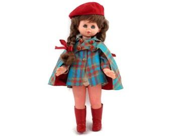 Furga Doll All Original with Mod Plaid Cape and Dress and Red Vinyl Go-Go Boots