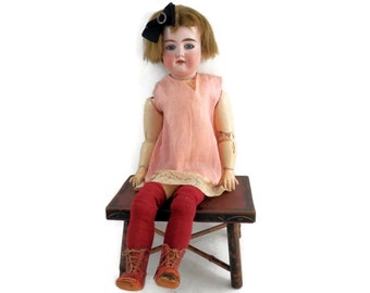 Antique Bisque Doll by Armand Marseille Child Size w/Stationary Eyes & Red Leather Boots