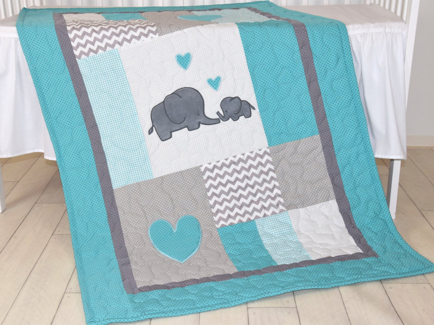Elephant Baby Bedding Turquoise Blue And Gray Blanket