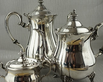 Silver Plated Ornate Tea and Coffee Set Coffee Pot Teapot Sugar Bowl English Made