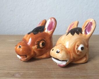 Vintage  Donkey Head Salt & Pepper Shakers, Burro Shakers, Made in Japan