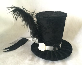 Tiny Top Hat: Classic Fancy Gray/Grey - Lolita Cosplay Costume Party Fascinator Photo Photography Prop Wedding Tophat Small Mini Miniature