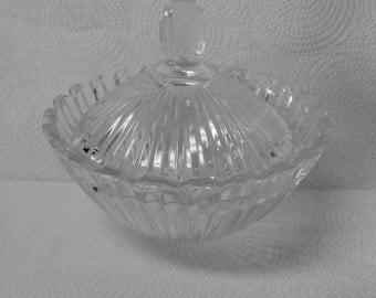 Vintage Crystal Vanity Dish Art Deco Style, Trinket Bowl, Powder Dish. Mikasa Glass