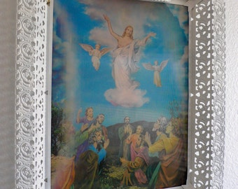 Vintage Holographic Framed Picture of Jesus Crucifixion Body of Christ White Metal Lighted Frame Mid-Century Wall Hanging Free Standing