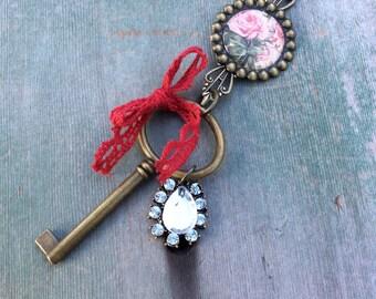 Attic Key Long Necklace/Boho/Victorian/Cottage Chic/Charm