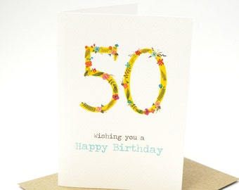 Birthday Card Female - 50 Floral Number - HBF135 - Wishing you a Happy Birthday