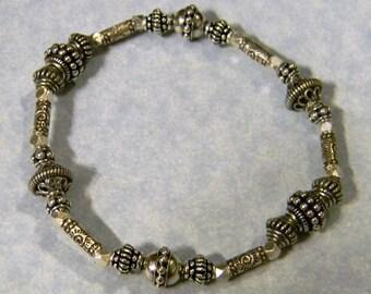 Bali Silver, Thai Karen and Sterling Stretch Bracelet