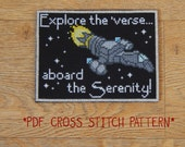 Firefly Serenity travel postcard cross stitch pattern