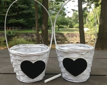 Wedding Two Flower Girl Basket  with Chalkboard Hearts ready to personalize