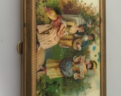 1930s Vintage CELLULOID Powder Compact COURTING Scene Rectangular