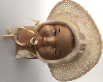 MOHAIR Baby Bonnet Hat 1950s/1960s Vintage