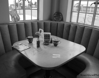 8 x 10 matted photograph black and white photo retro diner Route 66