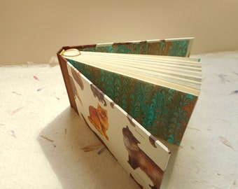 "Small Handmade blank book with cats: ""Musings"" - Journal, diary, writing, notes, pocket-sized."