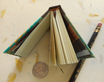 """Miniature Handmade blank book with hand-marbled covers: """"Small Words"""" - For very small thought and words. Small sketches. Collectors"""