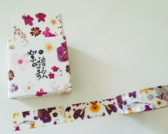 Oriental Plum and Yellow Floral Boxed Washi Tape