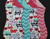Farm Animals and Chevron Terry and Flannel Burp Cloth Set