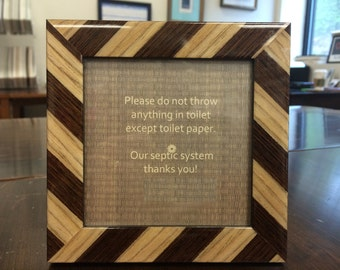 Brown and Beige Marquetry Wood Septic Sign for Vanity Top/ Bathroom Rules