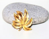 Vintage Designer JJ Jewelry, Gold Coloured Palm Leaf Brooch, Antique Alchemy