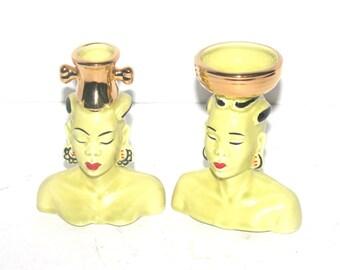Mid Century Asian Figure Set, Man and Woman, Vase,  Antique Alchemy