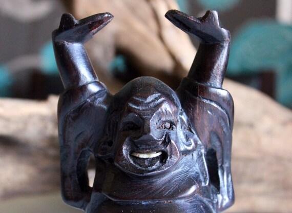Wood Buddha, Vintage Home Decor, Carved Dark Wood, Buddha, Hotai, Laughing Buddha