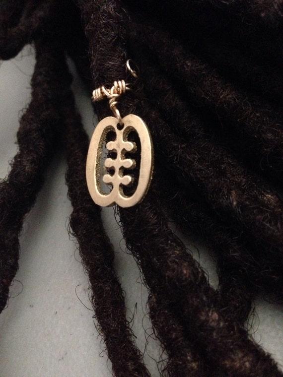 Adjustable Adinkra Ese Ne Tekrema Friendship Symbol Hair Cuffs Wire Wrapped Hair Bead Dread Locs Dreadlock Jewelry Hair Accessory
