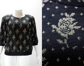 Plus Size Vintage Sweater - Black w Metallic Gold Threaded Flowers