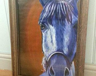 Le cheval bleu. The blue horse. Original a3 acrylic painting.