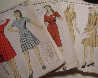 Vintage 1940's Du Barry 5345, 5733, 5273 Dresses and Suits Sewing Patterns, Lot of 3, Size 14, Bust 32