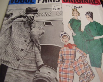 Vintage 1960's Vogue 1216 Paris Original Gres Dress and Coat Sewing Pattern, Size 12, Bust 32 or Size 10 Bust 31 Available