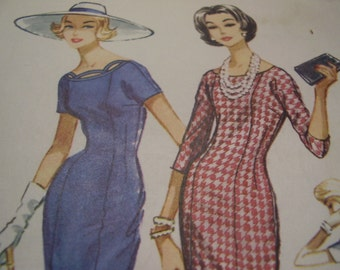 Vintage 1950's McCall's 4548 Dress Sewing Pattern, Size 14, Bust 34