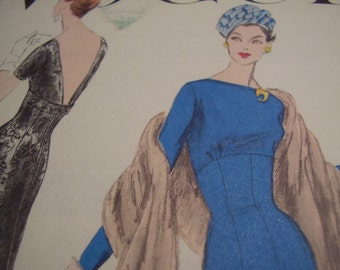 Vintage 1950's Vogue 8993 Dress Sewing Pattern, Size 12, Bust 32