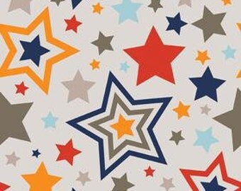 "Sale! Riley Blake ""One for the Boys"" Multicolor Stars on Cream"