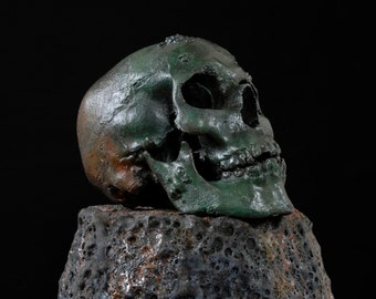Green Rotted Zombie Skull