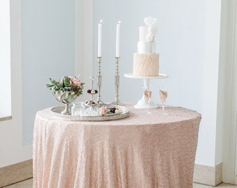 "Champagne Sequin Tablecloths, Sequin Overlays,  1 DAY SHIP 72"" X 72"", 90"" x 90"", 90"", 108"" , 120"", 132""  Champagne Blush"