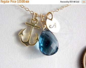 ON SALE Personalized ANCHOR and london blue quartz necklace.Gold filled, birthstone initial necklace,charm necklace,gemstone gifts, bridesma