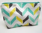 Makeup Cosmetic Bag, Mint & Yellow Geometric Print w/Zipper