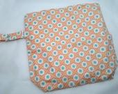 Wet /Dry Bag with Snap Handle - Waterproof Zipper Bag in Peach Flowers, Geometric