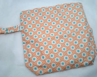 Wet /Dry Bag with Snap Handle - Waterproof Zipper Bag in Peach Flowers, Geometric