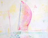 pink sailboat-- original