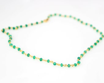 Green Onyx Rosary. Gold Vermeil Rosaries. Rose Gold semi precious stone rosary. Every day elegant rosary necklace