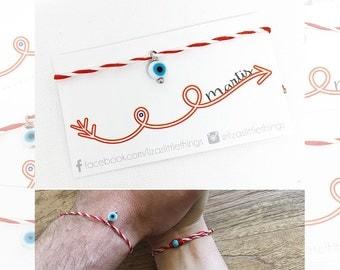 "Red and White Bracelet. ""Martis"" bracelet. March Bracelet. Evil eye Bracelet. Spring Bracelet. Minimalist bracelet"