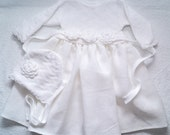 Knitted Christening Gown, Knitted white dress, Christening dress,White girl's dress, Linen dress