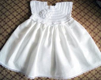 Crocheted white linen christening gown for the baby girl and toddlers any size