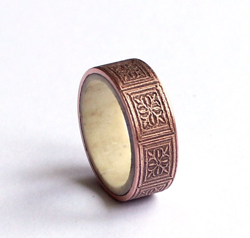 Mens Copper Wedding Rings Copper Mens Ring Mens Antler Band Wedding Ring Art Nouveau
