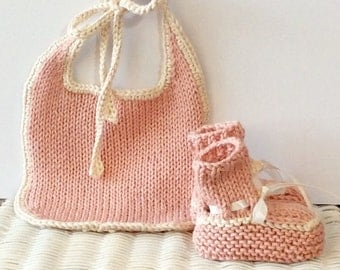 Dusty Pink Pima Cotton Baby Bib and Bootie Set