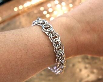 Handmade Aluminum Helm Chainmaille Bracelet // Tom Alden Jewelry // Chainmaille Bracelet // Lightweight Jewelry