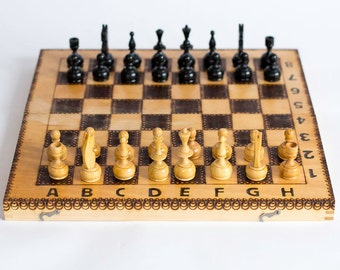 Vintage Wooden Chess Game Chess Set 1980's