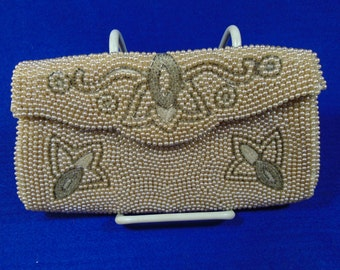 Vintage Beaded Evening Clutch Purse - Free Ship